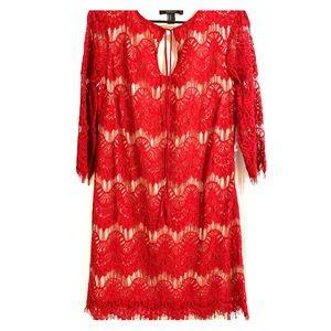 Scarlet red eyelash lace dress